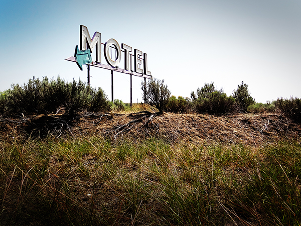 The actual motel is right across the road. A road through the middle of nowhere.